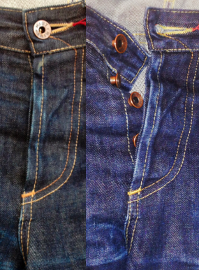Pre- and post-wash, you can see how well the indigo has washed out.